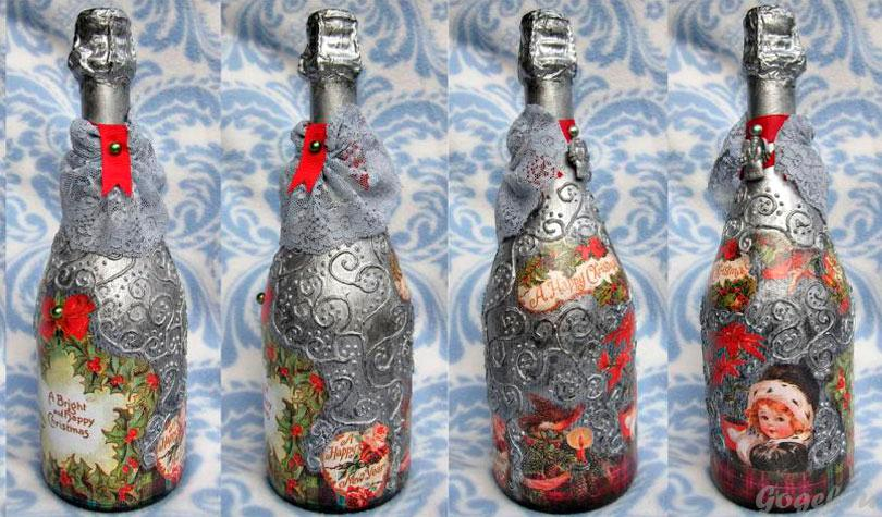 Декупаж на бутылке на новый год